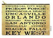 Jimmy Buffett Margaritaville Locations Black Font On Yellow Brown Texture Carry-all Pouch