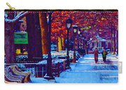 Jogging In The Snow Along Boathouse Row Carry-all Pouch