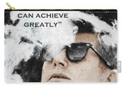 John F Kennedy Cigar And Sunglasses 3 And Quote Carry-all Pouch