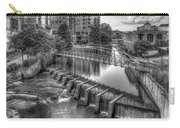 Just Before Sunset B W Reedy River Falls Park Greenville South Carolina Art Carry-all Pouch