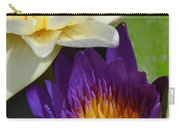 Just Opening Purple Waterlily With White - Vertical Carry-all Pouch
