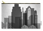Kansas City Skyline In Black And White Carry-all Pouch