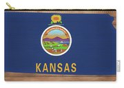 Kansas Rustic Map On Wood Carry-all Pouch
