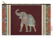 Kashmir Elephants - Vintage Style Patterned Tribal Boho Chic Art Carry-all Pouch