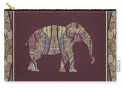 Kashmir Patterned Elephant 2 - Boho Tribal Home Decor  Carry-all Pouch