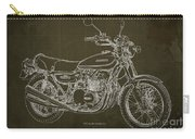 Kawasaki Motorcycle Blueprint, Mid Century Brown Art Print Carry-all Pouch