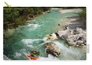 Kayaker Shooting The Cold Emerald Green Alpine Water Of The Uppe Carry-all Pouch