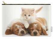 Kitten And Puppies Carry-all Pouch by Jane Burton