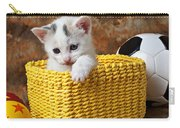 Kitten In Yellow Basket Carry-all Pouch