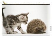 Kitten Inspecting Hedgehog Carry-all Pouch