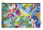 Koi And Two Waterlilies Flowers Carry-all Pouch