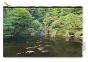 Koi Fish In Waterfall Pond At Japanese Garden Carry-all Pouch