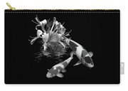 Koi With Honeysuckle Reflections In Black And White Carry-all Pouch