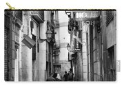 La Rambia Bw Street Gothic Quarter Narrow People  Carry-all Pouch