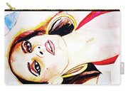 Lady In Red Framed Watercolour Painting Carry-all Pouch