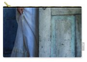 Lady In Vintage Clothing Hiding Behind Old Door Carry-all Pouch by Jill Battaglia