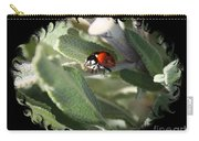 Ladybug On Sage With Swirly Framing Carry-all Pouch