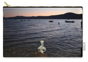 Lake Tahoe Sunset With Rocks And Black Framing Carry-all Pouch