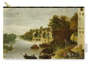 Landscape By A Riverside Town Carry-all Pouch