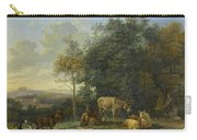 Landscape With Two Donkeys, Goats And Pigs Carry-all Pouch