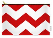 Large Chevron With Border In Red Carry-all Pouch