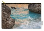 Large Rocks And Wave With Sunset On Paradise Island Greece Carry-all Pouch