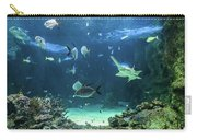 Large Sawfish And Other Fishes Swimming In A Large Aquarium Carry-all Pouch