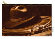 Lariat And Hat - Sepia Carry-all Pouch