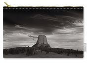 Last Light On Devils Tower Bw Carry-all Pouch