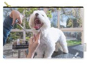 Laughing Adorable White Dog Is Groomed Carry-all Pouch