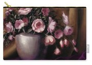 Lavander And Pink Flowers In Silver Vase Carry-all Pouch
