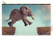 Leap Of Faith Concept Elephant Jumping Across A Crevasse Carry-all Pouch