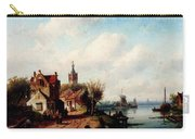 Leickert Charles A Village Along A River A Town In The Distance Carry-all Pouch