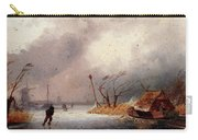 Leickert Charles A Winter Landscape With Skaters On A Frozen Waterway Carry-all Pouch