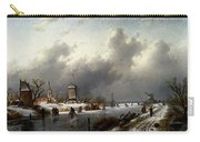 Leickert Charles Henri Joseph A Frozen Winter Landscape With Skaters Carry-all Pouch