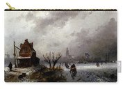 Leickert Charles Henri Joseph Figures On A Frozen Lake Carry-all Pouch
