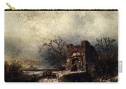 Leickert Charles Henri Joseph Villagers On A Frozen Path Carry-all Pouch