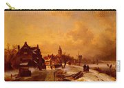 Leickert Charles Henri Joseph Winter And Summer Canal Scenes Scene  Carry-all Pouch