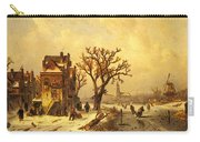 Leickert Charles Skaters In A Frozen Winter Landscape Carry-all Pouch