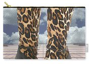 Leopard Boots With Ankle Straps Carry-all Pouch