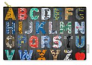 Letters Of The Alphabet Recycled Vintage License Plate Art With Apple Colorful School Nursery Kids Room Print Carry-all Pouch