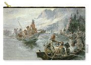 Lewis And Clark On The Lower Columbia River Carry-all Pouch by Charles Marion Russell
