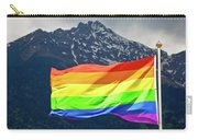 Lgbtq Rainbow Flag With Snowy Mountain Background View Carry-all Pouch