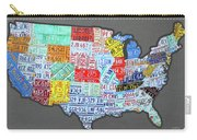 License Plate Map Of The United States Edition 2016 On Steel Background Carry-all Pouch