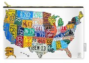 License Plate Map Of The United States Outlined Carry-all Pouch by Design Turnpike