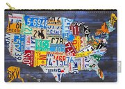 License Plate Map Of The Usa On Blue Wood Boards Carry-all Pouch