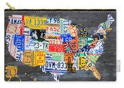 License Plate Map Of The Usa On Gray Distressed Wood Boards Carry-all Pouch