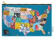 License Plate Map Of The Usa On Royal Blue Carry-all Pouch