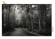 Light And Shadow On A Mountain Road In Black And White Carry-all Pouch