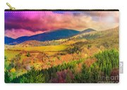 Light  Beam Falls On Hillside With Autumn Forest In Mountain Carry-all Pouch